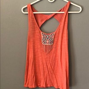 Orange Beaded Tank Top